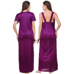 Women's Satin 2 PCs Set of Nighty And Wrap Gown with Half Sleeve(Color: Purple, Neck Type: Sweatheart Neck)