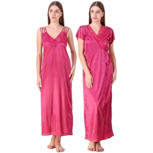 Women's Satin 2 PCs Set of Nighty And Wrap Gown with Half Sleeve(Color: Coral Pink, Neck Type: V Neck)
