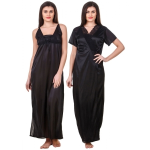 Women's Satin 2 PCs Set of Nighty And Wrap Gown with Half Sleeve(Color: Black, Neck Type: V Neck)