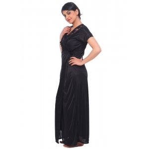 Women's Nightwear Satin 2 PCs Set Of Nighty And Wrap Gown Mega Sleeve(Color: Black, Neck Type: Square Neck)