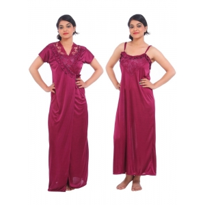 Women's Satin 2 PCs Set Of Nighty And Wrap Gown Mega Sleeve(Color: Wine, Neck Type: Square Neck)
