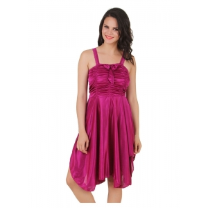 Women's Satin Short Nighty with Sleeve Less(Color: Wine, Neck Type: Square Neck)