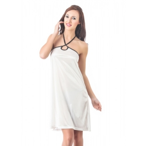 Women's Satin Short Nighty with Sleeve Less(Color: White, Neck Type: Halter Neck)