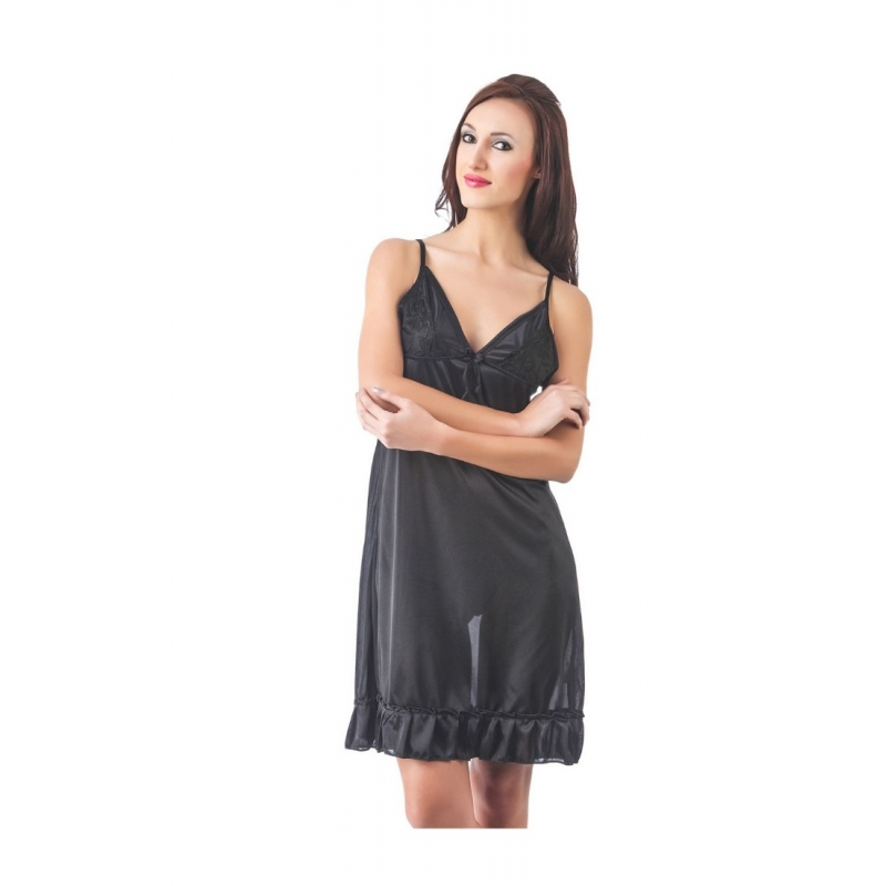 Women's Satin Short Nighty with Sleeve Less(Color: Black, Neck Type: V Neck)