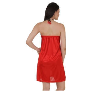 Women's Satin Short Nighty with Sleeve Less(Color: Red, Neck Type: Halter Neck)