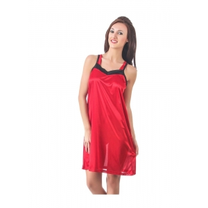 Women's Satin Short Nighty with Sleeve Less(Color: Red, Neck Type: Square Neck)