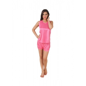 Women's Satin Top And Shorts Set with Sleeve Less(Color: Coral Pink, Neck Type: V Neck)