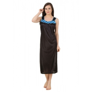 Women's Satin Long Nighty with Sleeve Less(Color: Turquoise & Black, Neck Type: U Neck)