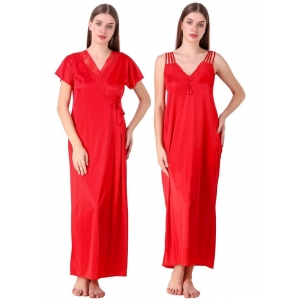 Women's Satin 2 PCs Set of Nighty And Wrap Gown with Half Sleeve(Color: Red, Neck Type: V Neck)