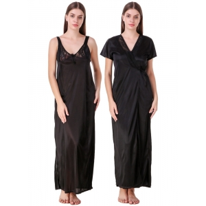 Women's Satin 2 PCs Set of Nighty And Wrap Gown with Half Sleeve(Color: Maroon, Neck Type: V Neck)
