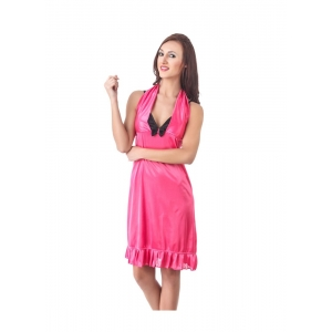 Women's Satin Short Nighty with Sleeve Less(Color: Pink Black, Neck Type: Halter Neck)