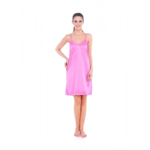 Women's Satin Short Nighty with Sleeve Less(Color: Pink, Neck Type: U Neck)