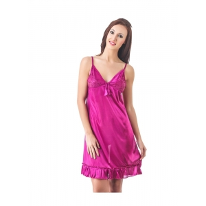 Women's Satin Short Nighty with Sleeve Less(Color: Wine, Neck Type: V Neck)