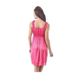 Women's Satin Short Nighty with Sleeve Less(Color: Pink, Neck Type: Square Neck)