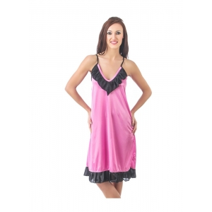 Women's Satin Short Nighty with Sleeve Less(Color: Black & Pink, Neck Type: V Neck)