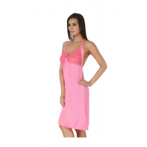 Women's Satin Short Nighty with Sleeve Less(Color: Pink, Neck Type: Halter Neck)
