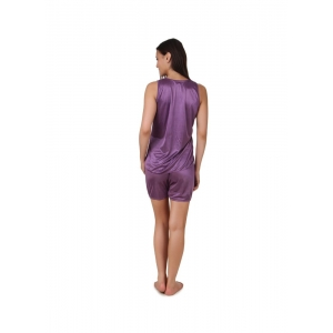 Women's Satin Top And Shorts Set with Sleeve Less(Color: Purple, Neck Type: V Neck)