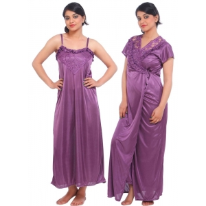 Women's Satin 2 PCs Set Of Nighty And Wrap Gown Mega Sleeve(Color: Purple, Neck Type: Square Neck)