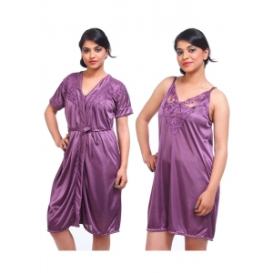 Women's Satin 2 PCs Set Of Nighty And Wrap Gown with Half Sleeve Nightdress(Color: Purple, Neck Type: V Neck)