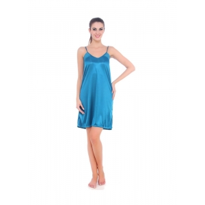 Women's Satin Short Nighty with Sleeve Less(Color: Turquoise, Neck Type: U Neck)