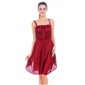 Women's Satin Short Nighty with Sleeve Less(Color: Maroon, Neck Type: Square Neck)