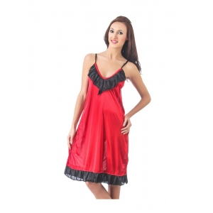 Women's Satin Short Nighty with Sleeve Less(Color: Maroon & Black, Neck Type: V Neck)