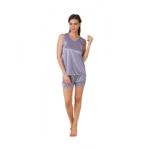 Women's Satin Top And Shorts Set with Sleeve Less(Color: Grey, Neck Type: V Neck)