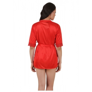 Women's Satin Babydoll Robe with Thong with Half Sleeve(Color: Red, Neck Type: V Neck)
