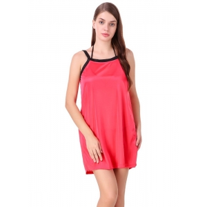 Women's Satin Short Nighty with Half Sleeve(Color: Coral Red & Black, Neck Type: V Neck)