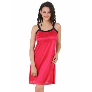 Women's Satin Short Nighty with Sleeve Less(Color: Wine & Black, Neck Type: Square Neck)