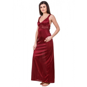 Women's Satin 2 PCs Set of Nighty And Wrap Gown with Half Sleeve(Color: Maroon, Neck Type: Sweatheart Neck)