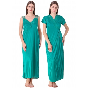 Women's Satin 2 PCs Set of Nighty And Wrap Gown with Half Sleeve(Color: Sea Green, Neck Type: V Neck)