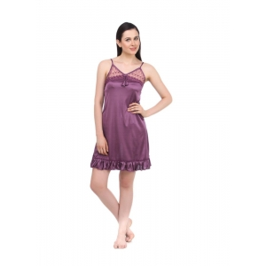 Women's Satin Short Nighty with Sleeve Less(Color: Purple, Neck Type: V Neck)