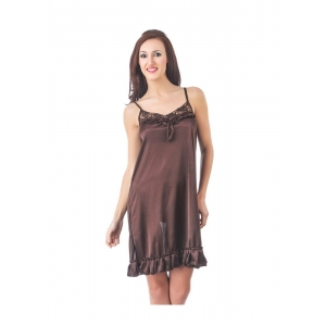 Women's Satin Short Nighty with Sleeve Less(Color: Choclate Brown, Neck Type: V Neck)