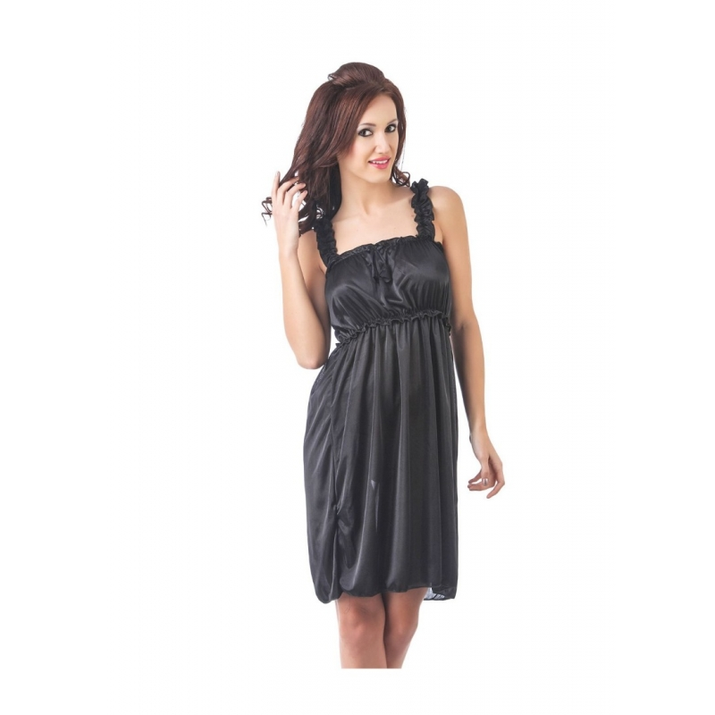 Women's Satin Short Nighty with Sleeve Less(Color: Black, Neck Type: Square Neck)