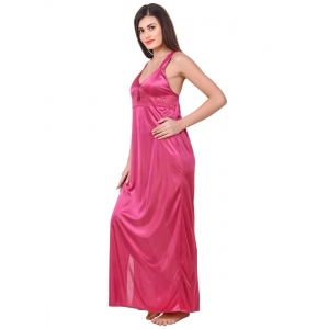 Women's Satin 2 PCs Set of Nighty And Wrap Gown with Half Sleeve(Color: Coral Pink, Neck Type: Sweatheart Neck)