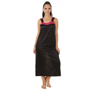 Women's Satin Long Nighty with Sleeve Less(Color: Coral Pink & Black, Neck Type: U Neck)