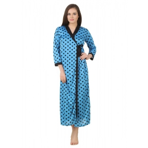 Women's Satin Wrap Gown3/4 Sleeve(Color: Turquoise & Black, Neck Type: V Neck)