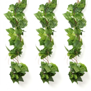 Generic Pack Of 3 Silk Polyester Artificial Grape Leaf Vine Hanging Garland  Foliage Flowers Leaf Plants For Wall Decoration (Color: Green,Length: 15 Feet)