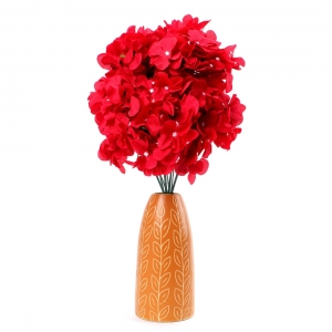 Generic Silk Polyester Artificial Hydrangea Cherry Blossom Flower Stems Bunch Bouquet Of 12 Flowers For Wall Decoration (Color: Red,Length: 17 Inches)