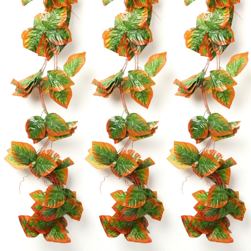 Generic Pack Of 5 Silk Polyester Artificial Shaded Orange Green Leaf Vine Hanging Garland  Foliage Flowers Leaf Plants For Wall Decoration (Color: Orange-Green,Length: 15 Feet)