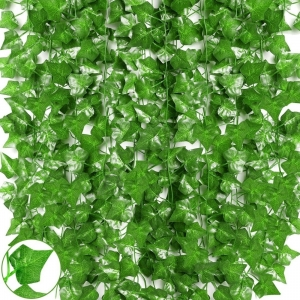 Generic Pack Of 6 Silk Polyester Artificial Ivy Leaf Vine Hanging Garland  Foliage Flowers Leaf Plants For Wall Decoration (Color: Green,Length: 7 Feet)