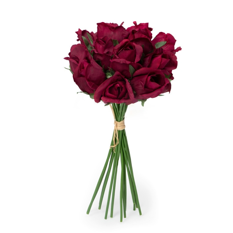 Generic Silk Polyester Artificial Rose Flowers Bunch Bouquet Of 13 Roses For Home Decoration (Color: Burgundy,Length: 12 Inches)