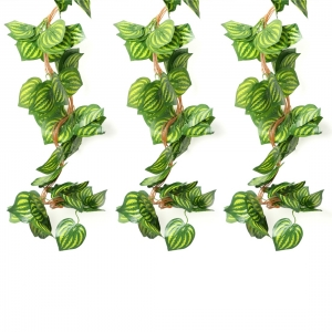 Generic Pack Of 3 Silk Polyester Artificial Watermelon Leaf Vine Hanging Garland  Foliage Flowers Leaf Plants For Wall Decoration (Color: Green,Length: 6.5 Feet)