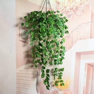 Generic Silk Polyester Artificial Watermelon Leaf Vine Hanging Garland  Foliage Flowers Leaf Plants For Wall Decoration (Color: Green,Length: 6.5 Feet)