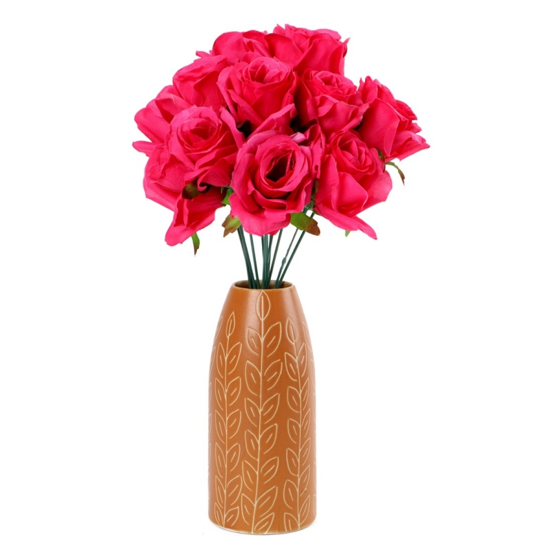 Generic Silk Polyester Artificial Rose Flowers Bunch Bouquet Of 12 Roses For Home Decoration (Color: Pink,Length: 17 Inches)