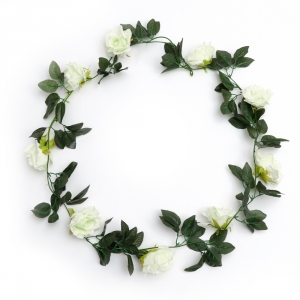 Generic Silk Polyester Artificial White Rose Vine Flowers With Green Leaves For Wall Decoration (Color: White,Length: 7.5 Feet)