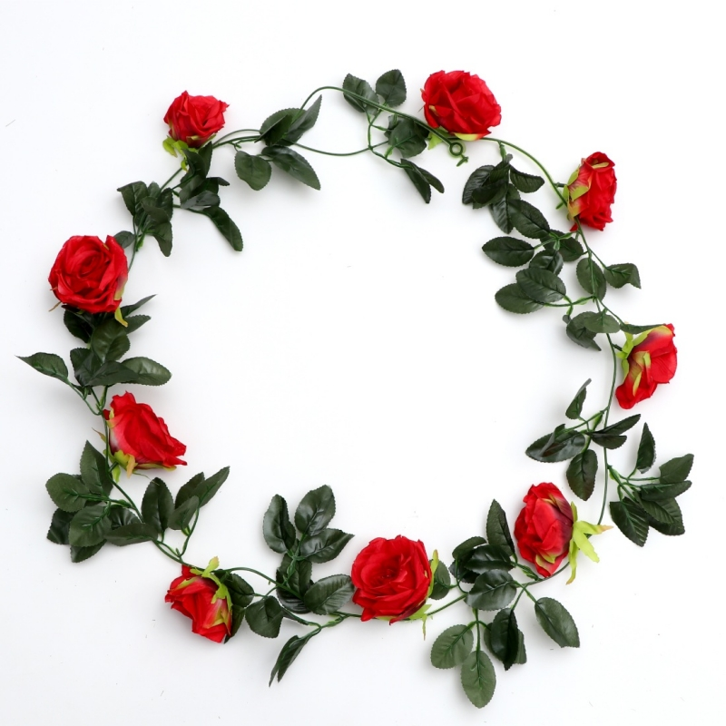 Generic Silk Polyester Artificial Red & Greenrose Vine Flowers With Green Leaves For Wall Decoration (Color: Red-Green,Length: 7.5 Feet)