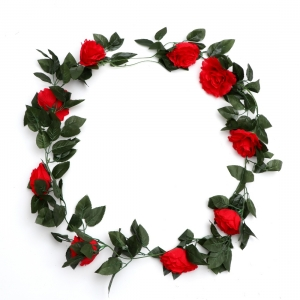 Generic Silk Polyester Artificial Red Rose Vine Flowers With Green Leaves For Wall Decoration (Color: Red,Length: 7.5 Feet)