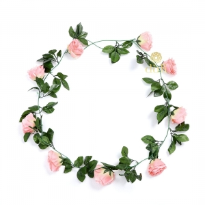 Generic Silk Polyester Artificial Peach Pink Rose Vine Flowers With Green Leaves For Wall Decoration (Color: Peach,Length: 7.5 Feet)